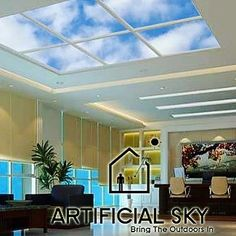 Artificial Sky LED Skylight lobby ceilings and atrium design layouts create a faux window up to 50000 square feet in size using the largest imagery on Earth! #LI #ledskylights #skyceiling #artificialsky #virtualsky #seniorliving #multisensory #healingart #hospitaldesign #healingarchitecture #medicaldesign #interiordesigner #designbuild #ceilingideas #patientoutcomes #atrium #lobbydesign #facilities #designboom #neocon #hcdnow2018 #big5