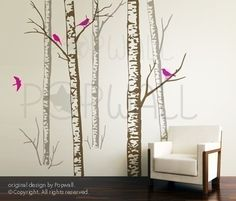 Art Tree Wall Decals Wall Sticker Tree Decal - Birch Forest Trees ( 5 TREES ) - 068. $185.00, via Etsy.