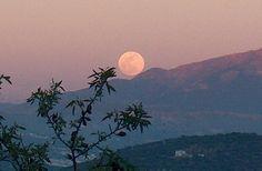 Moon over mountain. Andalucia, Malaga, Are You Happy, Spain, Mountain, Moon, Celestial, Outdoor, Outdoors