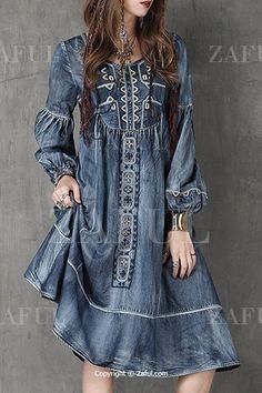 Bleach Wash Embroidered Denim Dress