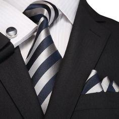 Navy Blue and Gray Striped Silk Necktie Set  JPM18A96