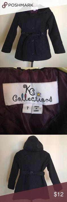Girls KC Collections winter coat size 7. This is a girls KC Collections brand winter coat size 7. It is dark gray in color. It has been worn a few times and is in good shape. It is a polyester and wool blend. If you have any questions please let me know. Thanks! KC Collections Jackets & Coats Pea Coats