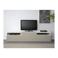 BESTÅ Banc TV - blanc/Selsviken brillant/beige, glissière tiroir, fermeture silence - IKEA