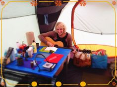 Short report from Camp JillyBenny, Florida: Tunes in the tent. Getting ready for our 2 o'clock show at the Naples Regional Library downtown on Central. Working on a new song. Rain stopped, sun is shining, time to unzip the windows :)