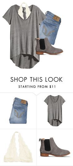 """""""These boots """" by aud1 ❤ liked on Polyvore featuring Hollister Co., H&M and Office"""