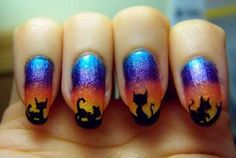 DIY halloween nails: DIY Halloween nail art : Gradient with cats!
