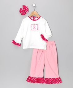 Take a look at this Pink Ballet Shoe Ruffle Pants Set - Infant, Toddler & Girls by Molly Pop Inc. on #zulily today!