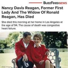 """""""Mrs. Reagan will be buried at the Ronald Reagan Presidential Library in Simi Valley, California, next to her husband, Ronald Wilson Reagan, who died on June 5, 2004,"""" Joanne Drake, her rep wrote in a statement. #BuzzFeedNews"""