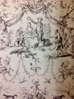 Diseño de Jean-Baptiste Huet como modelo para la manufactura de telas decorativas de Jouy,inspirado en los susesos sobre Maria Antonieta, su gusto por las flores,los perros ,corderos y la vida del campo.