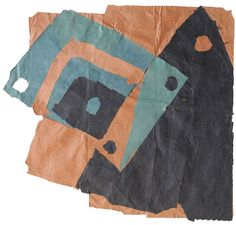 """Francis Davison [UK] (1919 - 1984) ~ """"Black Triangle, Leaning Oblong"""". Paper collage (71.5 x 75.5 cm).   #art #collage #abstract"""