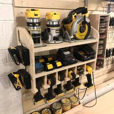 CNC Made Cordless Drill Holder, Wall Mounted Cordless Impact Tool Organizer, Power Tool Storage, Too – Garage Organization DIY Tool Wall Storage, Power Tool Storage, Tool Storage Cabinets, Diy Garage Storage, Lumber Storage, Garage Workshop Organization, Storage Shed Organization, Workshop Storage, Organizing