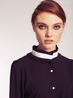 Dahlia Zara Black Tightly Pleated Collar and Cuffs Blouse with Contrast Trim