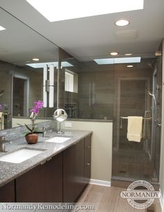 Master bathroom with two square undermount sinks, a large mirror, bright skylight and walk-in shower.