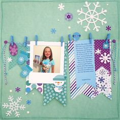 Had to pin another one of these CUTE Doodlebug Design pages. Might not look super simple, but you just create a line with Baker's Twine and hang photos, journaling and paper banners from the line! I want to give this a try!