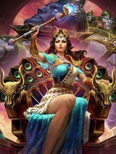 Hera Goddess, Greek Goddess Art, Egyptian Goddess, Aphrodite, Greek Mythology Gods, Greek Gods And Goddesses, Roman Mythology, Fantasy Art Women, Fantasy Girl