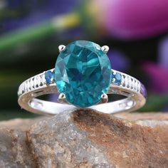 Capri Blue Quartz and Malgache Neon Apatite Platinum Over Sterling Silver Ring
