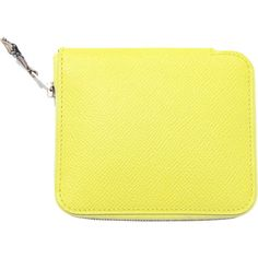 Pre-owned Hermes Soufre Neon Yellow Silk-in Azap Compact Epsom Leather... ($870) ❤ liked on Polyvore featuring bags, wallets, handbags and purses, wallets and small accessories, leather wallet, colorful wallets, hermes bag, yellow leather wallet and yellow leather bag