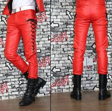 Popular Men's Casual Skinny Slim Fit PU Pants Boy's Black Faux Leather Trousers