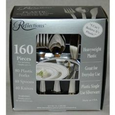 Reflections Heavyweight Looks Like Silver Disposable Flatware for 40 with BONUS Pack of 40 Forks - 160 Pieces in All by Reflections, http://www.amazon.com/dp/B000JHGQKW/ref=cm_sw_r_pi_dp_Wz.Krb03PXNR8