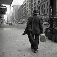 Vivian Maier (Man Walking with Package), 1955