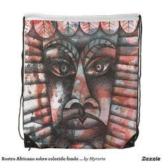 Rostro Africano sobre colorido fondo abstracto. Regalos, Gifts. #bolso #bag