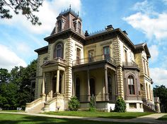 The David Davis Mansion, completed in 1872, combines Italianate and Second Empire architectural features and is a model of mid-Victorian style and taste. (Bloomington, IL)