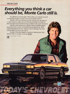 Chevrolet Usa, Chevrolet Caprice, Chevrolet Monte Carlo, Classic Chevrolet, Vintage Advertisements, Vintage Ads, Monte Carlo For Sale, Car Brochure, Chevy Muscle Cars