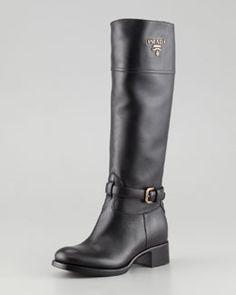 X1TUK Prada Tall Logo Riding Boot, Black...