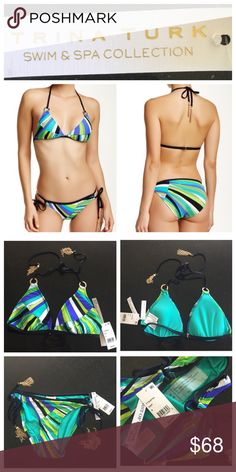 Trina Turk 2 piece bikini Trina Turk 2 piece bikini set, both pieces size 8.  Sunburst sapphire triangle top and the side tie loop bottoms from the First of Cruise 2016 Collection.  Pretty print with gold chain tassel ties. NWT and hygiene liner intact.  Model pics from Nordstrom website to show fit & styling. Trina Turk Swim Bikinis