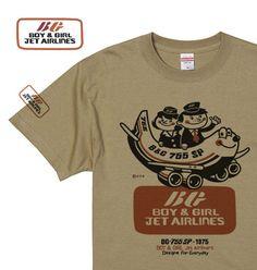 Boy & Girl エアラインズ 150.160(女性M.L)S〜XL Tシャツ 【受注生産品】