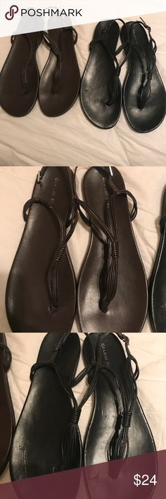 Gianni Bini sandals size 9.5 Gianni Bini size 9.5 sandals in black and brown. Both are included in sale. They have some wear but very minimal. Great sandals and super comfy. Gianni Bini Shoes Sandals