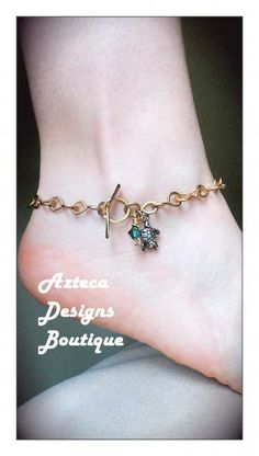 Tiny Turtle And Emerald Crystal Charm Brass Chain Ankle Bracelet