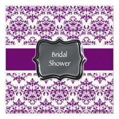 Purple white bridal shower personalize invitation