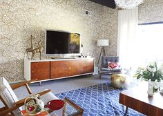 Like the space, except for the wallpaper.  (by Emily Henderson)