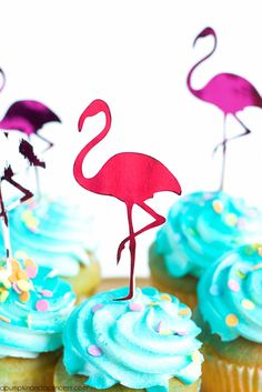 DIY Pink Foil Flamingo Cupcake Toppers by Michaels Makers A Pumpkin And A Princess