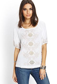 Embroidered Peasant Top | LOVE21 - 2000073330