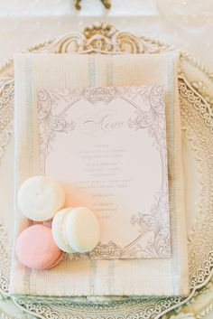 Macarons on the menu. An elegant, yet super fun touch! Theme inspired by Essense Designs wedding gowns and bridesmaid dresses.