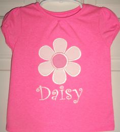 Spring Daisy personalized shirt (with any name) in sizes 12 months through 5T.