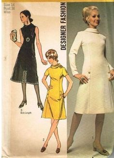 8c980e23f3 Pattern Simplicity 9058 Designer Fashion Dress Princess Seam 14 36 1970 s  VTG