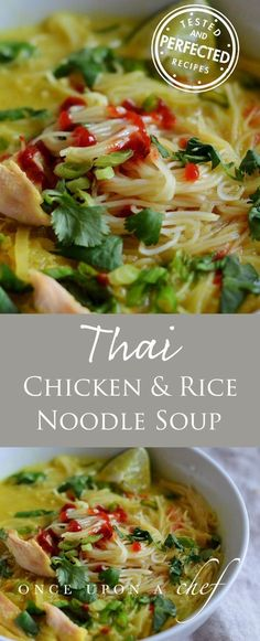 Are you in need of comfort food? This is a fragrant, warming chicken and rice noodle soup. Made with a rotisserie chicken, thai flavors, and pantry staples, it's almost instant gratification. #thaichicken #chickenrecipes #soups #soupseason #testedandperfected #noodlesoup #chickennoodlesoup