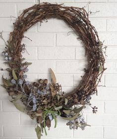 My attempt at a diy australian gum nut wreath for Christmas. Simple Christmas, All Things Christmas, Christmas Ideas, Christmas Decorations, Tree Wall, Holiday Wreaths, Small Gifts, Grapevine Wreath, Grape Vines