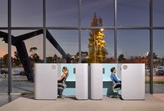 Designed by Australian Nick Tennant, Focus provides a quiet refuge for a private conversation or solo work time, absorbing outside noise and shielding the user from view. The units come equipped with power and data connections. Office Pods, Study Nook, Open Plan, The Unit, Modern, Desks, Conversation, Wellness, Space