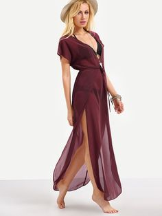 22aa669506798 Plunge Neck Drawstring Waist Cover Up Dress | SHEIN Dress P, Wrap Dress,  Beach