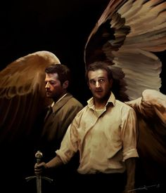 Castiel and Gabriel.   Gabriel needs to make a comeback because Lucifer killed him. Not cool, Lucy, not cool.