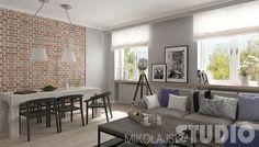 Przestronne wnętrze w stylu vintage #salon #jadalnia #wnętrze z cegłą