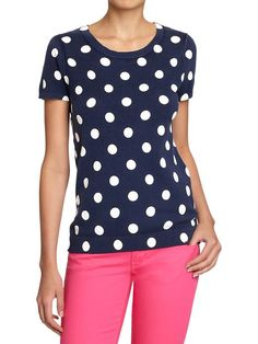 Navy with white polka dots. Cute! Old Navy | Women's Short-Sleeved Sweaters.