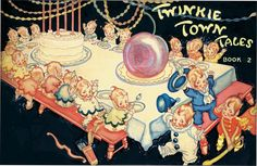 Arthur Henderson original watercolor, ink and tempera illustration. Appears as a double-page wrap-around front and back covers of Twinkie Town Tales Book No. 2 by Carlyle Emery.