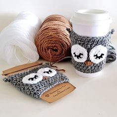 Happy & Whimsical Jewelry, Accessories, and Home Decor autor TinyBubblesCrafts Crochet Coffee Cozy, Crochet Cozy, Crochet Gifts, Diy Crochet, Coffee Cup Cozy, Coffee Cozy Pattern, Bubble Crafts, Crochet Christmas Decorations, Crochet Christmas Cozy