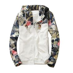 Women's Hooded Jackets 2019 Summer Causal windbreaker Women Basic Jackets Coats Sweater Zipper Lightweight Jackets Bomber Famale - White S Floral Bomber Jacket, Bomber Jacket Men, Hooded Jacket, Bomber Jackets, Suit Jacket, Womens Windbreaker, Windbreaker Jacket, White Windbreaker, Men's Coats And Jackets
