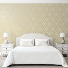 Holden Decor Cork Effect Trellis Natural Metallic Wallpaper - A glamorous wallpaper with a twist. This beautiful wallpaper has a cork inspired design, overlayed with a metallic finish for an amazing shimmering finish. Trellis Wallpaper, Wallpaper Uk, Metallic Wallpaper, Luxury Wallpaper, Contemporary Wallpaper, White Bedroom, Dream Bedroom, Stunning Wallpapers, Beautiful Wallpaper